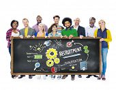 picture of recruiting  - Ethnicity People Holding Recruitment Togetherness Concept - JPG