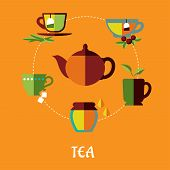 picture of tea bag  - Flat tea concept in warm colors with teapot surrounded different shapes cups of tea with tea bags - JPG