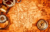 foto of treasure map  - Vintage magnifying glass - JPG