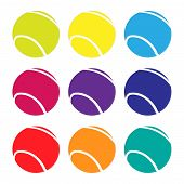 stock photo of deuce  - Illustration Set of Tennis Balls in Different Colours - JPG