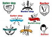 pic of barber  - Barber shop logo emblems and labels for signboard design with open scissors brushes haircut silhouette part of them with colorful ribbon banners and the other in a shield and with wreath - JPG