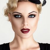 pic of vintage jewelry  - Retro style fashion woman with smoky make - JPG