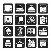foto of motel  - Silhouette Hotel and motel room facilities icons  - JPG