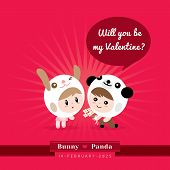 pic of kawaii  - Cute kawaii couple character in rabbit and panda costume with Valentine - JPG