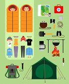 picture of sleeping bag  - Boy and girl in sleeping bags next to tent with campfire and backpack - JPG
