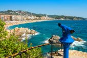 stock photo of beach-house  - Telescope overlooking beach in Lloret de Mar - JPG