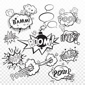 foto of bomb  - Comic black speech bubbles in pop art style with bomb cartoon explosion snap boom poof text set vector illustration - JPG