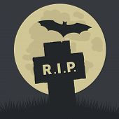 picture of rest-in-peace  - Simple Rest in Peace Icon Graphic Design  Emphasizing Silhouette Cross and Bat on Ground with Big Full Moon at the Back - JPG