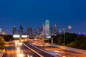 stock photo of texas  - Dallas downtown skyline at night, Texas, usa ** Note: Visible grain at 100%, best at smaller sizes - JPG