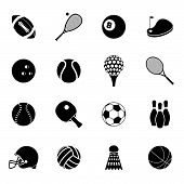 picture of bowling ball  - Outdoor recreation sport activities accessories black silhouette icons set with basketball rugby balls abstract isolated vector illustration - JPG