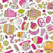 stock photo of teapot  - Cute seamless pattern with sweets and desserts - JPG