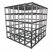 image of caged  - Metallic cage isolated over white 3d render - JPG