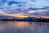 foto of malaysia  - Colorful sunset on the Sarawak River from the Waterfront Promenade in Kuching Borneo Malaysia - JPG