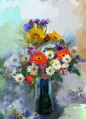 picture of vase flowers  - Vase with still life a bouquet of flowers - JPG