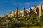 picture of goreme  - Fairy chimneys in a valley nearby Goreme Cappadocia Turkey - JPG