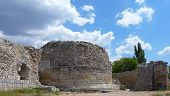 stock photo of socrates  - Ruins of an ancient greek defensive tower in Chersonese Taurian in Sevastopol  - JPG