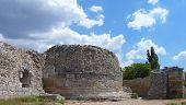 foto of socrates  - Ruins of an ancient greek defensive tower in Chersonese Taurian in Sevastopol  - JPG