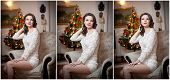 foto of tight dress  - Beautiful sexy woman with Xmas tree in background sitting on elegant chair in cozy scenery - JPG