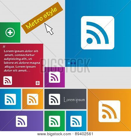 Rss Feed Icon Sign. Metro Style Buttons. Modern Interface Website Buttons With Cursor Pointer. Vecto