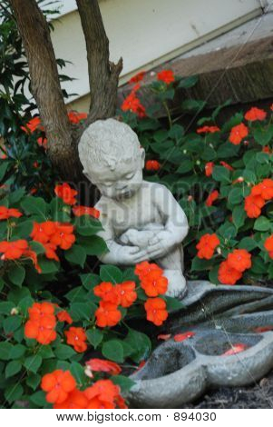 Child Statue Red Impatients