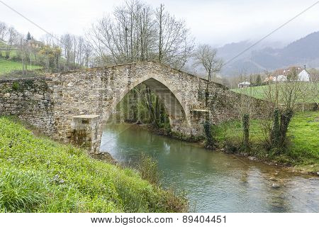Ceceda Medieval Bridge In Asturias
