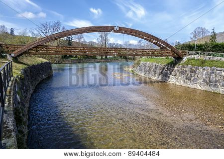 Wooden Bridge In Cangas De Onis, On River Guena. Asturias