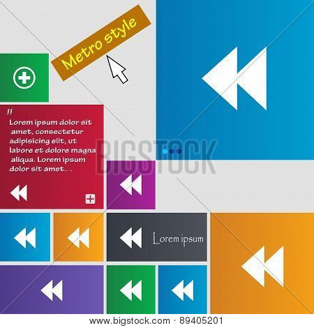 Rewind Icon Sign. Metro Style Buttons. Modern Interface Website Buttons With Cursor Pointer. Vector