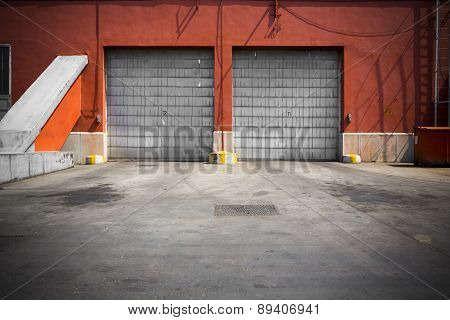 Old Industrial Building Metal Garage Door