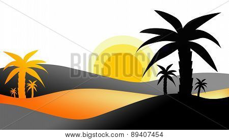 Beautiful sunset view on tropical landscape