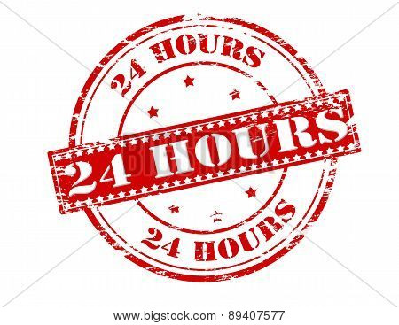 Rubber stamp with text twenty four hours inside vector illustration