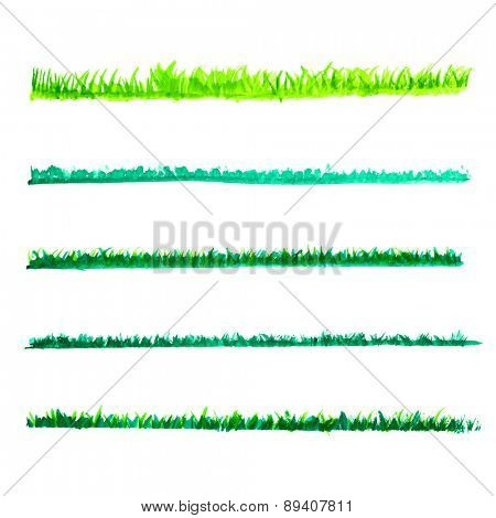 watercolor Green grass lines set, vector illustration