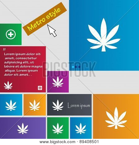 Cannabis Leaf Icon Sign. Metro Style Buttons. Modern Interface Website Buttons With Cursor Pointer.