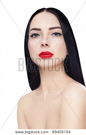 Young beautiful sexy brunette with red lipstick over white background