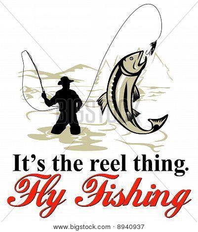 Fliegenfischer Fang von Forellen