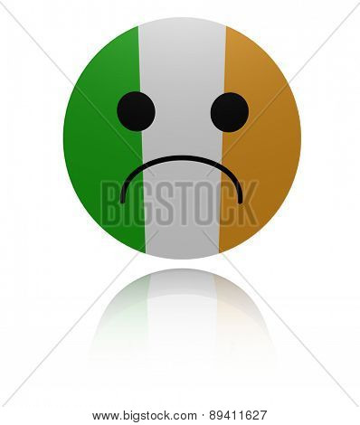 Irish flag sad icon with reflection illustration