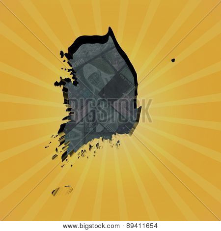 South Korea map on won sunburst illustration