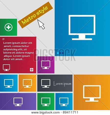 Computer Widescreen Monitor Icon Sign. Metro Style Buttons. Modern Interface Website Buttons With Cu
