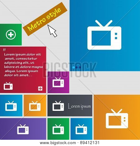 Retro Tv Mode Icon Sign. Metro Style Buttons. Modern Interface Website Buttons With Cursor Pointer.