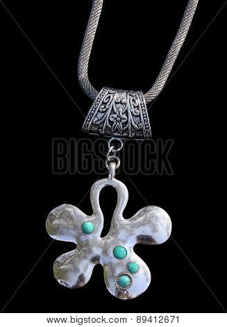 Pendant With Turquoise Inset
