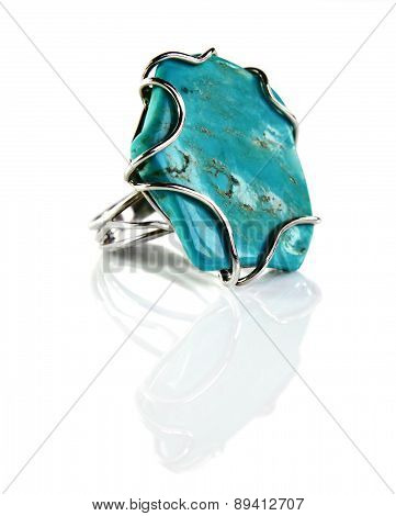 Silver Ring With Turquoise