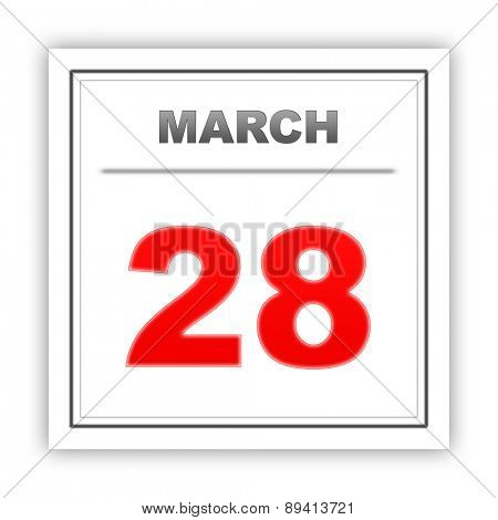 March 28. Day on the calendar. 3d