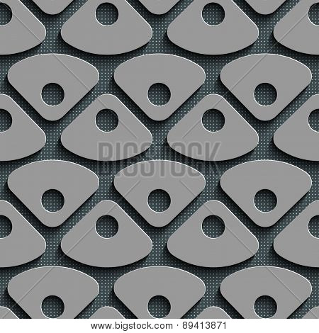 Seamless Triangle and Circle Pattern. Abstract Gray Background. Vector Regular Texture