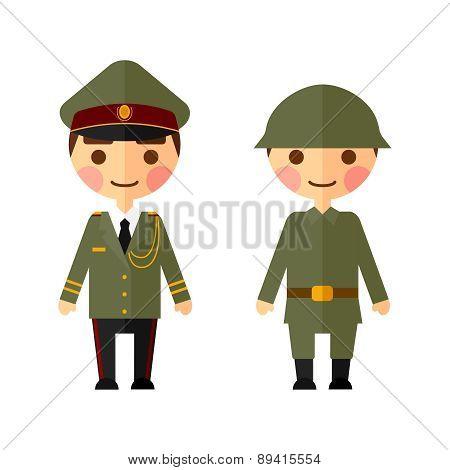 Military men flat set.
