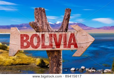 Bolivia wooden sign with Laguna Corada background