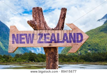 New Zealand wooden sign with mountains background