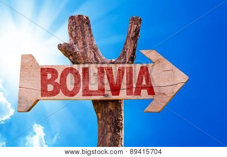 Bolivia wooden sign with sky background