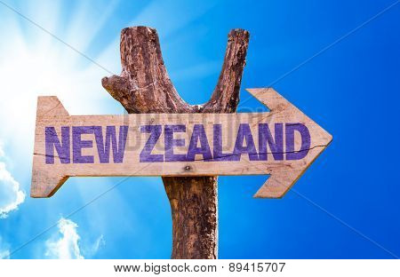 New Zealand wooden sign with sky background