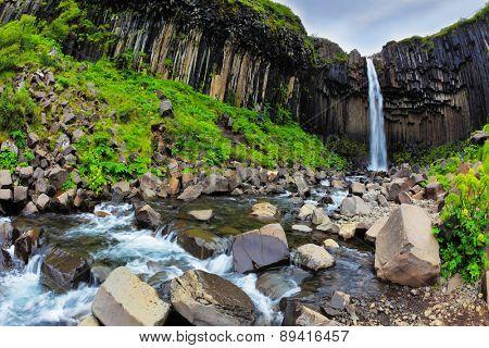 Magnificent waterfall Svartifoss in Icelandic park Skaftafell