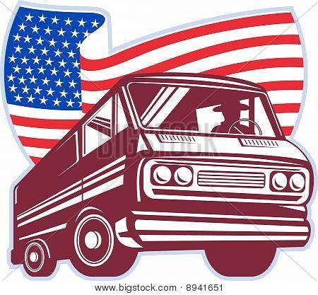 station wagon american flag
