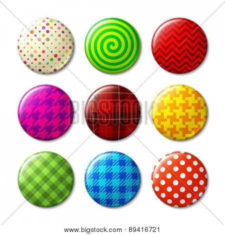 Set of badges with different patterns. Vector.